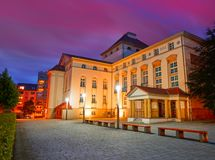 Teatro di Nordhausen alla notte in Turingia Germania Immagini Stock Libere da Diritti