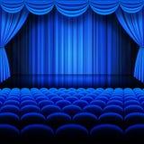Teatro do azul do vetor Fotografia de Stock Royalty Free