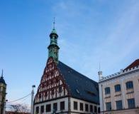 Teatro e municipio in Zwickau in Sassonia Germania immagini stock