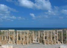 Teatro en el Magna de Leptis Imagenes de archivo