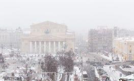 Teatro en Moscú, opinión de Bolshoi de alto ángulo panorámica en s fuerte imagen de archivo libre de regalías