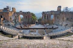 Teatro greco di Taormina, Sicilia, Italia Immagine Stock