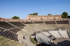 Teatro greco di Taormina, Sicilia, Italia Immagini Stock