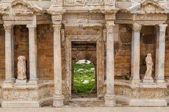 Teatro greco-romano antico in città antica Hierapolis vicino a Pamukkale, Turchia Fotografia Stock