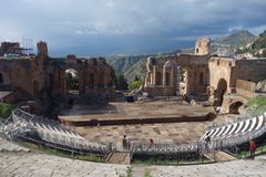 Teatro Greco Taormina, Sicily, Italy Stock Images
