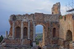 Teatro Greco Taormina, Sicily, Włochy Obrazy Stock