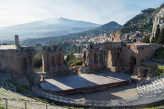 Teatro Greco in Taormina, Sizilien Stockfotos
