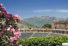 Teatro grego-romano de Taormina Foto de Stock