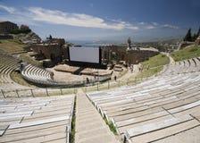 Teatro grego-romano de Taormina Fotos de Stock Royalty Free