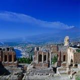 Teatro grego, Taormina imagem de stock