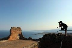 Teatro griego en Sicilia imagen de archivo