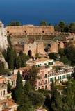 Teatro griego, Taormina, Sicilia Imagenes de archivo