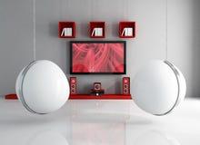 Teatro home contemporâneo com esfera-cadeira Foto de Stock Royalty Free