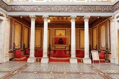 Teatro Juarez Foyer Guanajuato. The foyer of Teatro Juarez theatre with its columns, luxurious sofas and adorned floor Stock Photo