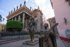 Teatro Juarez in Guanajuato City. January 19, 2016 Guanajuato, Mexico: the colonial architecture dominated Union plaza in front of Tatro Juarez in a very popular Royalty Free Stock Images
