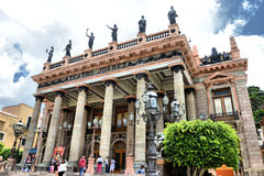 Teatro Juarez Guanajuato. Mage of the Juarez Theater at Guanajuato City, this Theater is one the most beautiful in the world, here you can see many people Royalty Free Stock Photography