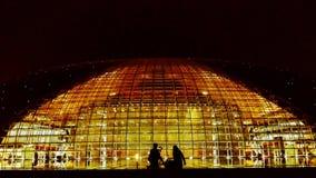 Teatro magnífico nacional en la noche, la silueta de Pekín China de la gente almacen de video
