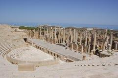 Teatro, magnum di Leptis, Libia Immagini Stock