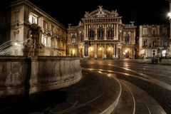 Teatro Massimo Bellini di notte Fotografie Stock