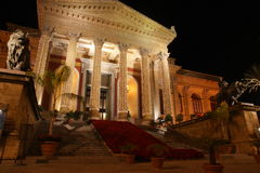 Teatro massimo palermo. The facade of Teatro Massimo at night in Palermo, Sicily, Italy Stock Images