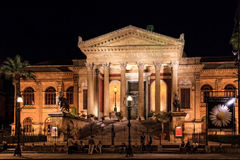 Teatro Massimo. The Teatro Massimo, Opera House in Palermo at Night Royalty Free Stock Photography