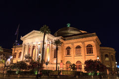 Teatro Massimo. The Teatro Massimo, Opera House in Palermo at Night Royalty Free Stock Image
