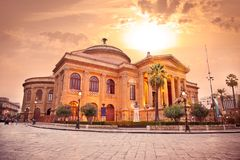 Teatro Massimo, opera house in Palermo. Sicily. Teatro Massimo, opera house in Palermo. Sicily, Italy. Evening photo Stock Photos