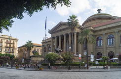 Teatro massimo palermo. The facade of Teatro Massimo at sunny day in Palermo, Sicily, Italy Stock Photo