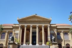 Teatro Massimo in Palermo. View of the facade of the Massimo in Palermo, Sicily Royalty Free Stock Image