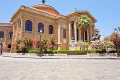 Teatro Massimo - Teatro dell'Opera a Palermo, Sicilia Fotografia Stock Libera da Diritti