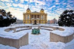 Teatro nacional croata en la opinión del invierno de Zagreb Fotografía de archivo libre de regalías