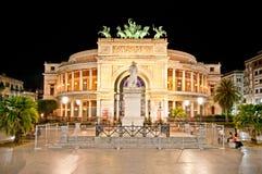 Teatro Politeama at night in Palermo, Sicily. stock photos