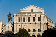 Teatro real em Madrid. Quadrado de Oriente. Spain Imagem de Stock