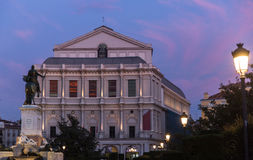 Teatro Real in Madrid. Evening view of Teatro Real in Madrid, Spain Stock Photography