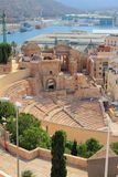 Teatro romano antico e rovine della cattedrale Cartagine, Spagna Fotografia Stock Libera da Diritti