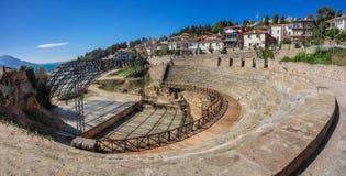 Teatro romano antigo em Ohrid em Macedônia fotos de stock