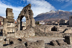 Teatro Romano Aosta Valle d`Aosta Italy Royalty Free Stock Photo
