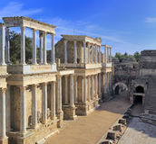 Teatro romano, Merida, Extremadura, Espanha imagens de stock royalty free