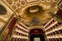 Teatro San Carlo, Naples operahus, Italien Arkivfoto