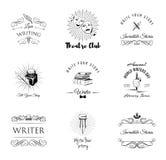 Teatro, scrittore, letteratura Insieme delle etichette e dei distintivi Fotografia Stock Libera da Diritti