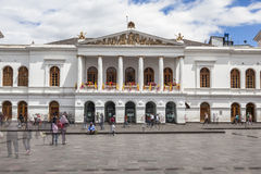 Teatro Sucre theater. QUITO, ECUADOR - JUNE 30, 2015: Teatro Sucre theater on Plaza del Teatro square is one of the most visited sites in old town of Quito Stock Image