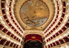 Teatro teatro da ópera de San Carlo, Nápoles, Itália Imagens de Stock