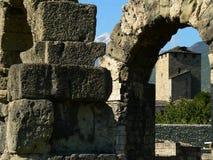 Teatroromano, Aosta (Italië) Stock Foto's