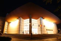 Teatru Narodowego jon Luca Caragiale w Bucharest nocy Obrazy Royalty Free