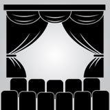 Teatru scena, zasłona i rzędy krzesła, ilustracji