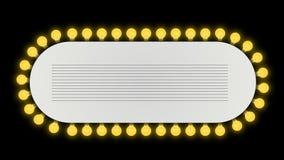 Teatru showtime znak z żarówkami kinowymi w alfa kanale ilustracja wektor