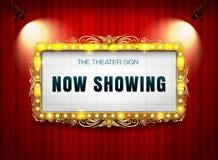Teatru szyldowy złoto na zasłonie z światłem reflektorów ilustracji
