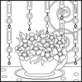 Tebakgrund med koppen och blommor Modell för menyn, tapet Arkivfoto