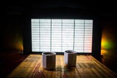 Tebegrepp ?stlig dryck f?r japansk kultur f?r teceremoni E arkivfoton