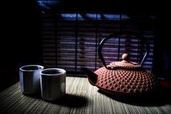 Tebegrepp ?stlig dryck f?r japansk kultur f?r teceremoni E royaltyfri foto